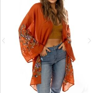 Orange sheer kimono with embroidered floral accent